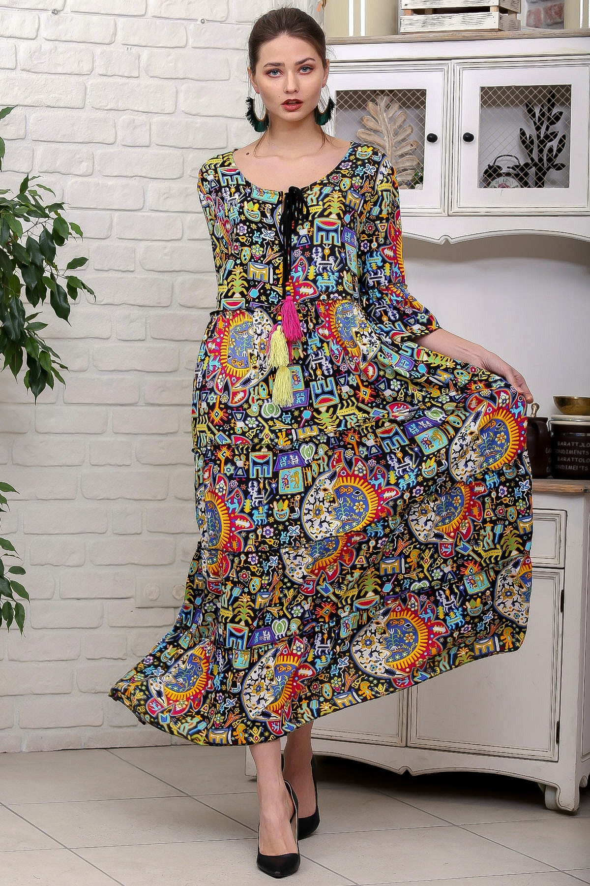 Chiccy Kadın Siyah Güneş Desen Püsküllü Bağcıklı Salaş Dokuma Elbise M10160000EL95927