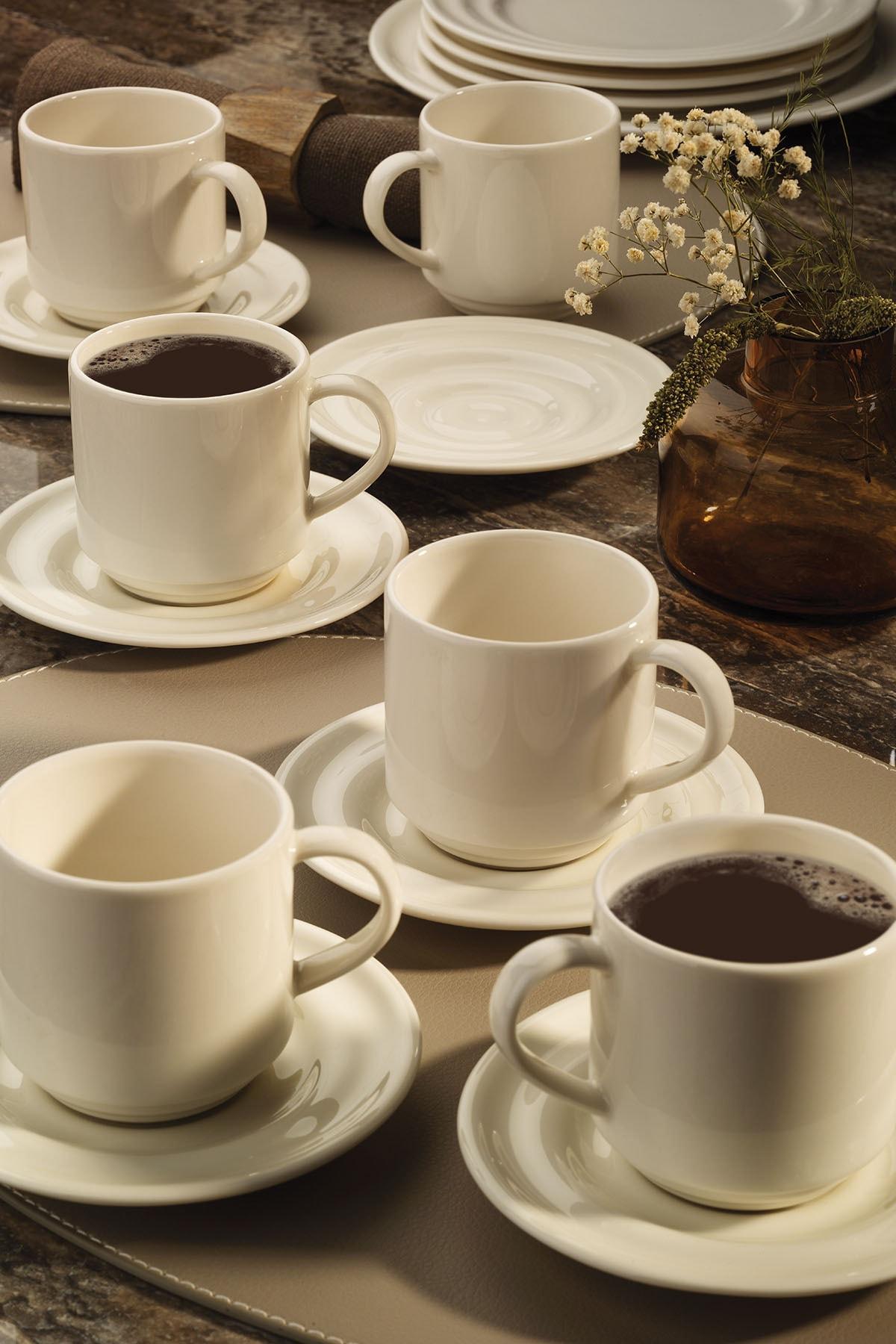Kütahya Porselen Tuvana Çay Takımı Krem 1