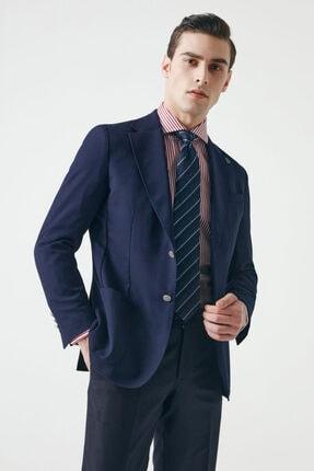 D'S Damat Erkek Lacivert  Damat Regular Fit Armürlü Kumaş Ceket