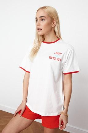 TRENDYOLMİLLA Ekru Baskılı Boyfriend Örme T-Shirt TWOSS21TS0522