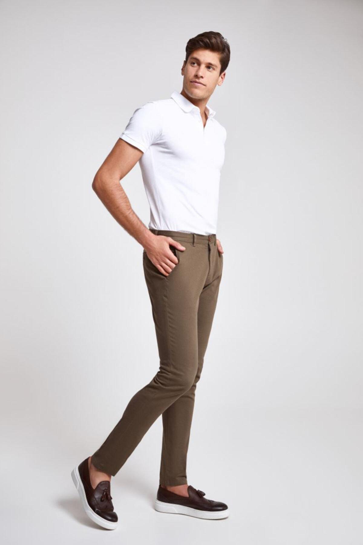 D'S Damat Twn Slim Fit Bej Çizgili Chino Pantolon 2