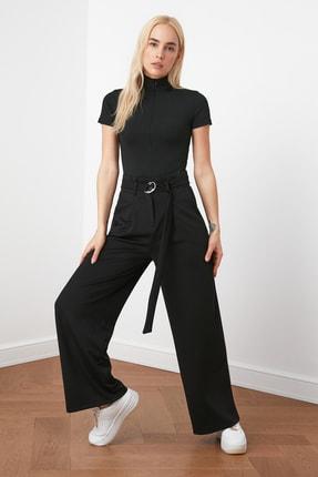 TRENDYOLMİLLA Siyah Kemerli Dökümlü Pileli Örme Pantolon TWOAW20PL0218