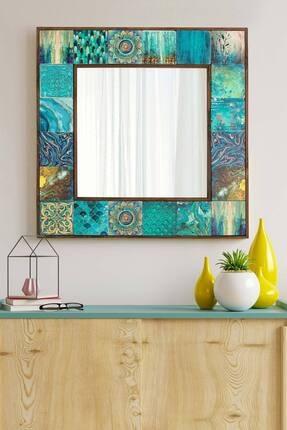 bluecape Valensiya Doğal Ağaç 62x62 Cm Çerçeveli Antik Limra Taş Kaplı Salon Duvar Konsol Boy Aynası