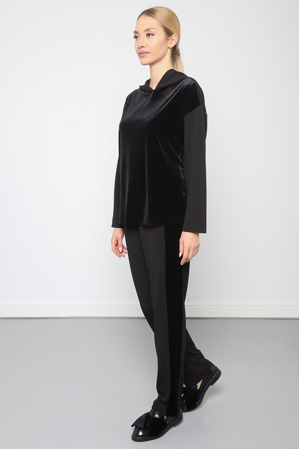 Journey Kadın Siyah Bel Lastik Detaylı Kadife Pantolon 2