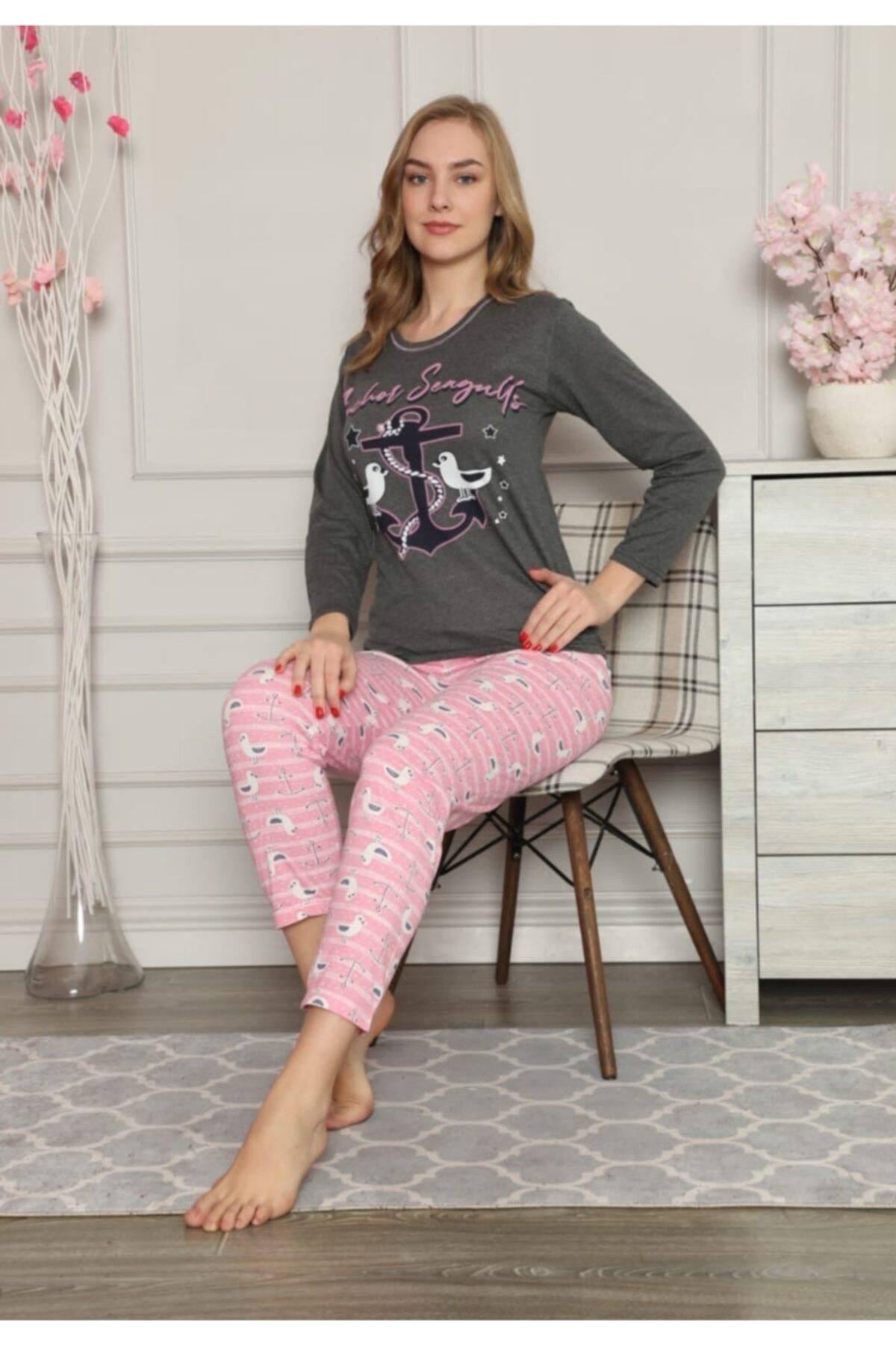 Rüyam Kadın Çapa Baskılı Uzun Kol Pijama Takım 1