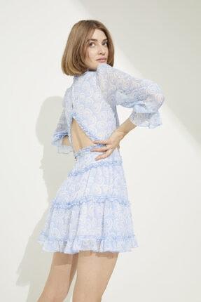 adL Kadın Emp.A.Mavi Sırtı Dekolteli Fırfır Detaylı Mini Elbise