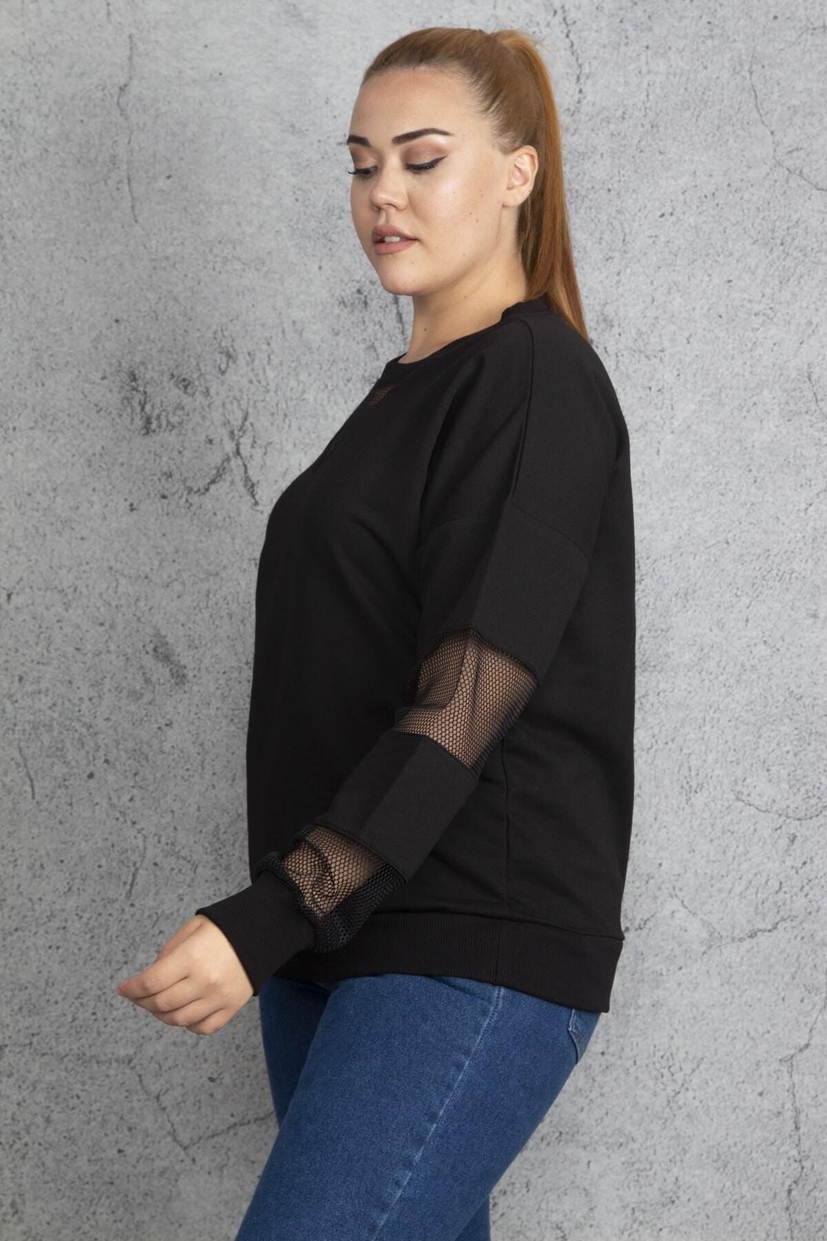 Şans Kadın Siyah Filedetaylı Sweatshirt 65N18844 2