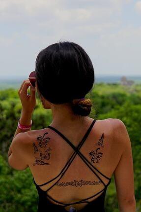 TAKIŞTIR Siyah Geçici Kelebek Dövme Tattoo