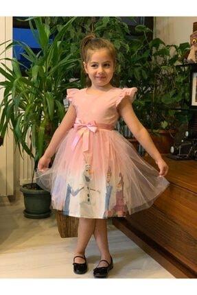 Buse&Eylül Bebe Kız Çocuk Pembe Tüllü Elsa Elbise