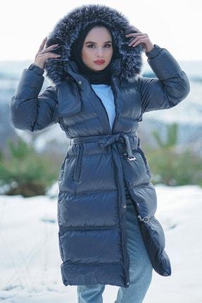 Minel Kadın Antrasit Kemerli Kapüşonu Kürklü Şişme Mont