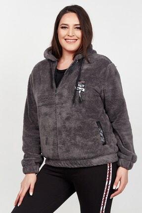 Womenice Kadın Antrasit Polar Cepli Spor Büyük Beden Sweatshirt