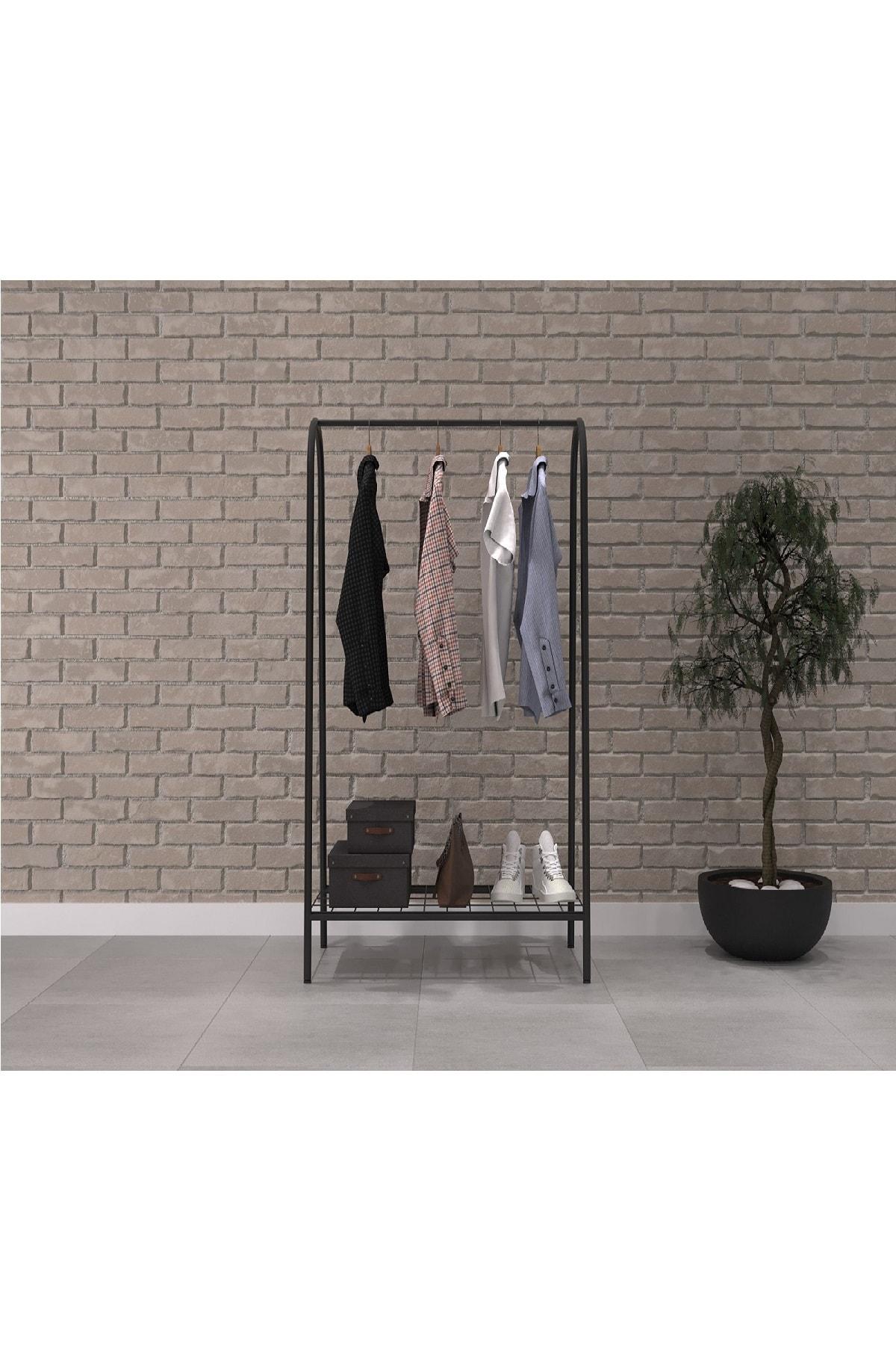 Uyan Ev Ürünleri Metal 1 Raflı Metal Ayaklı Portmanto Ve Raflı Konfeksiyon Askılığı Metal Ayaklı Elbise Askılığı 1