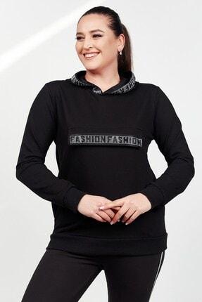 Womenice Kadın Siyah Büyük Beden Fashion Taş Baskılı  Sweatshirt