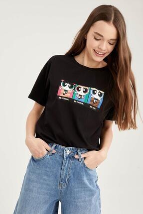 DeFacto Kadın Siyah Powerpuff Girls Lisanslı Bisiklet Yaka Relax Fit T-Shirt