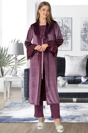By Mecit Pijama Mecit 5357 Mürdüm Kadife Sabahlıklı Lohusa Pijama Takımı