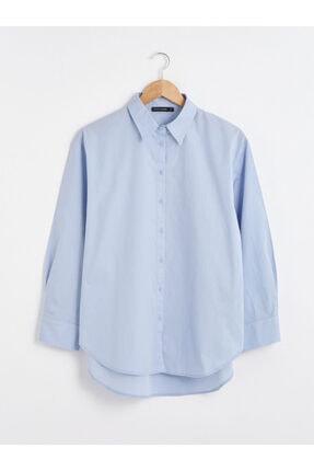 LC Waikiki Kadın Mavi Düz Gömlek