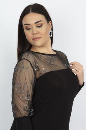 Şans Kadın Siyah Tül Ve Pul Payet Detaylı Bluz 65N22273