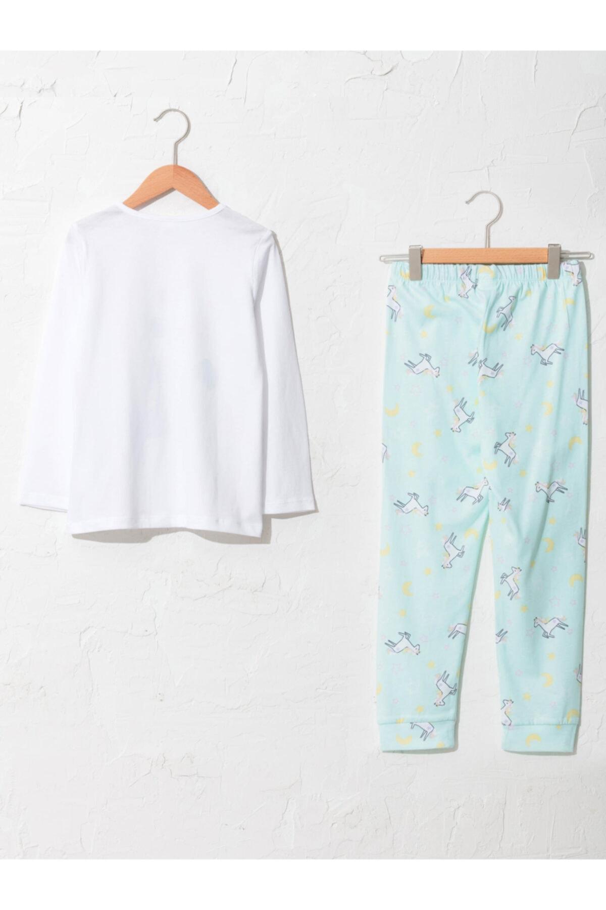 LC Waikiki Kız Çocuk Beyaz Desenli Pijama Takımı 2