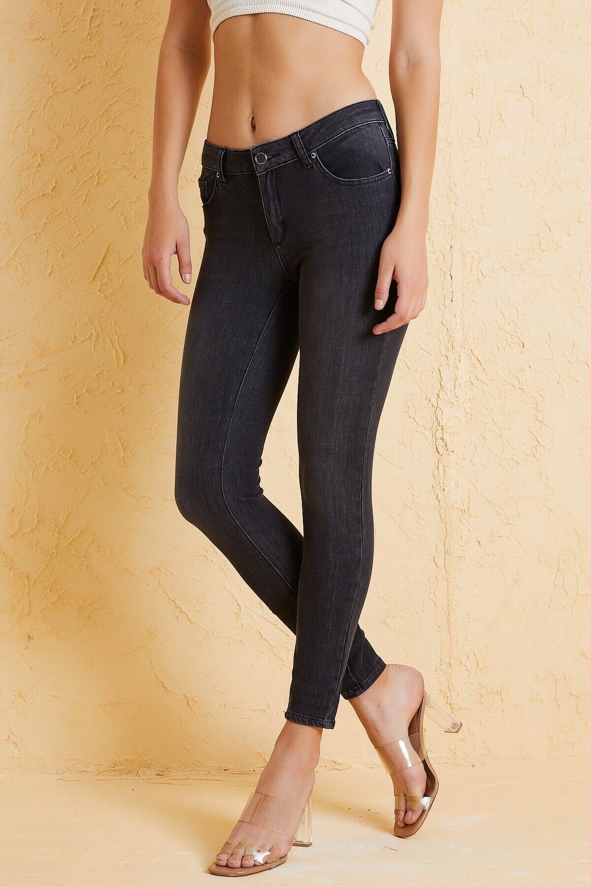 Twister Jeans Kadın Siyah Orta Bel Pantolon 9046-81 2