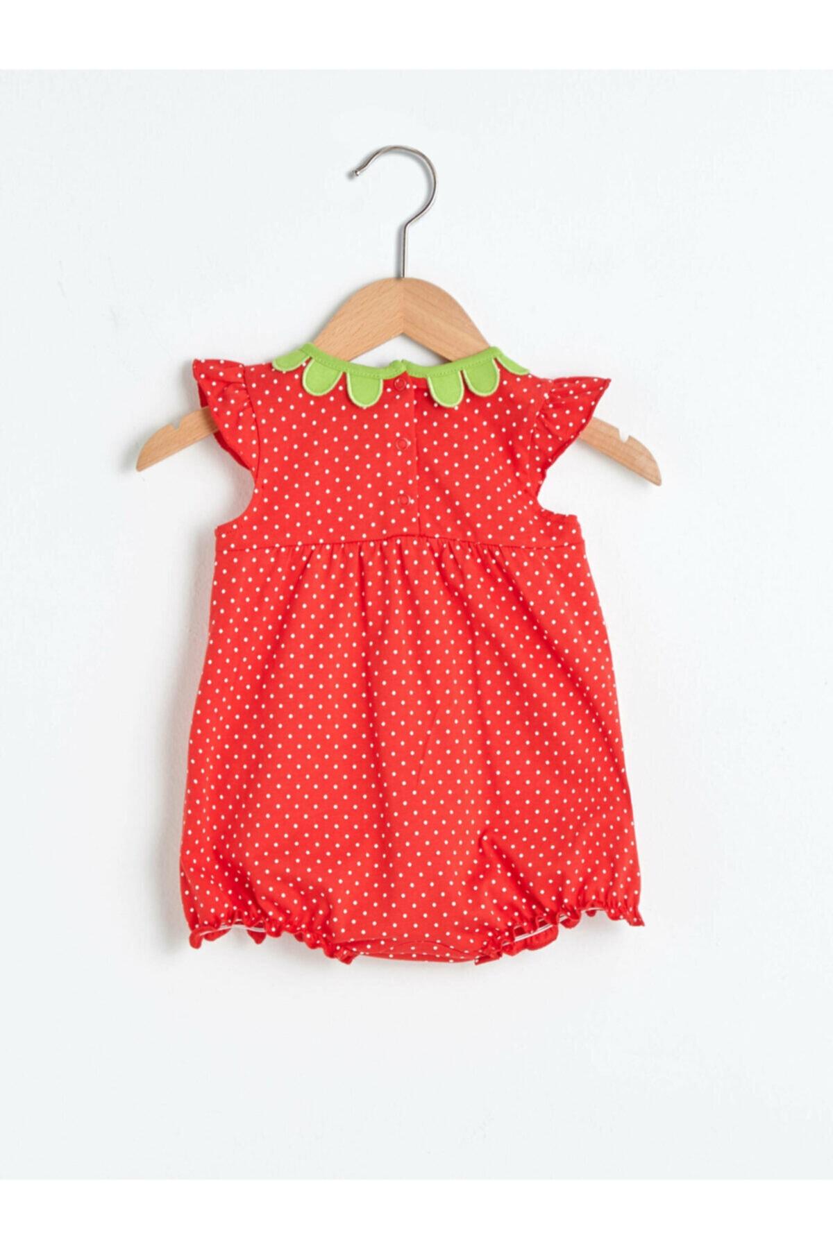 LC Waikiki Kız Bebek Kırmızı Desenli Tulum 2