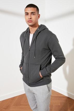 TRENDYOL MAN Antrasit Erkek Regular Fit Basic Kapüşonlu Fermuarlı Sweatshirt TMNAW20SW0262