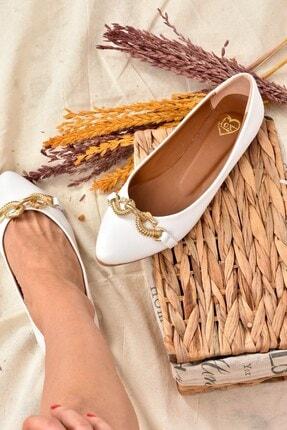 Fox Shoes Kadın Beyaz Tokalı Babet K726086209