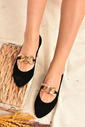 Fox Shoes Kadın Siyah Süet Zincirli  Babet K726092802