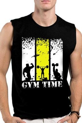 Rock & Roll Erkek Siyah Spor Vakti Kesik Kol | Kolsuz T-shirt | Atlet