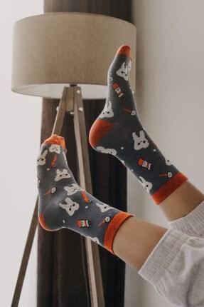 ADEL ÇORAP Unisex Gri Diş Desenli Renkli Çorap