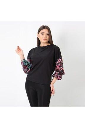 Bigdart Kadın Kolları Çiçek Detaylı Bluz