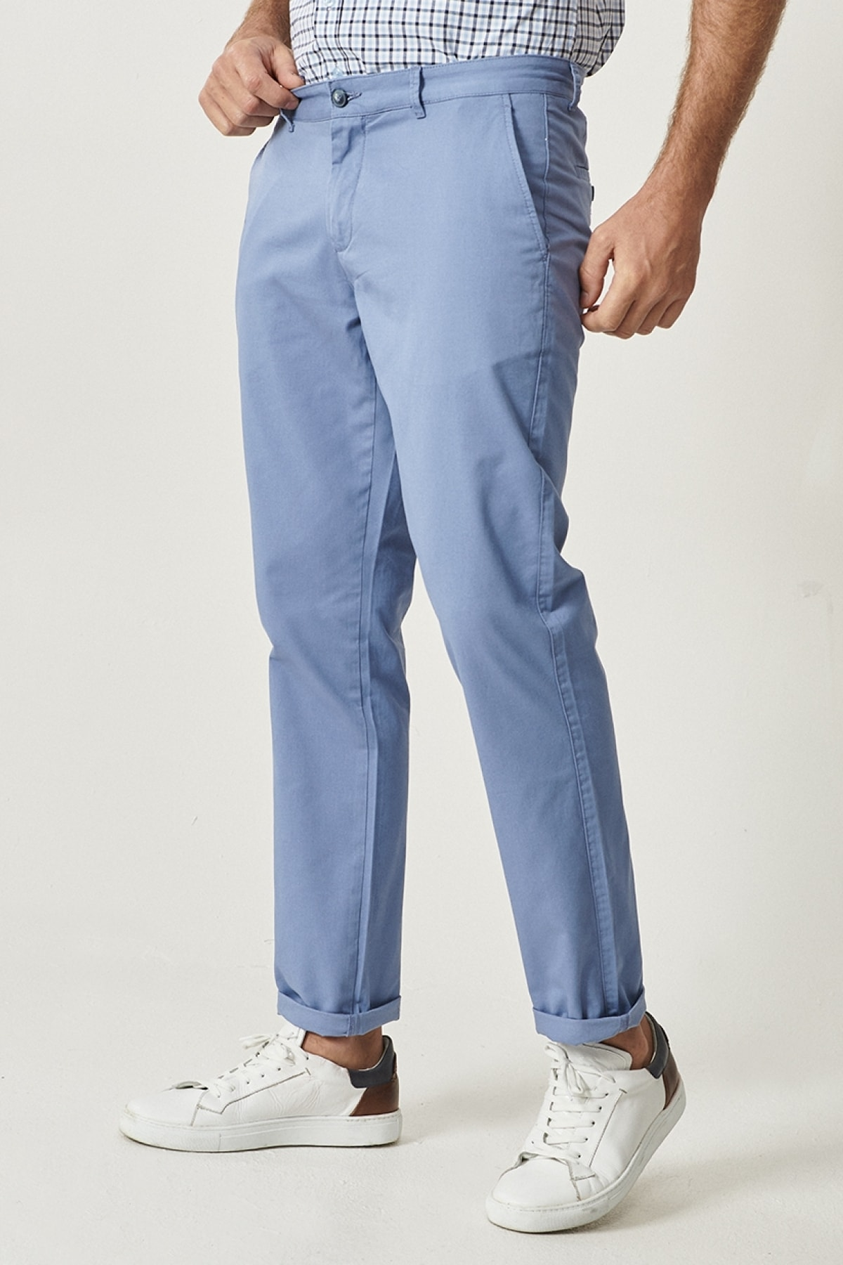 ALTINYILDIZ CLASSICS Erkek Mavi Kanvas Slim Fit Chino Pantolon 1
