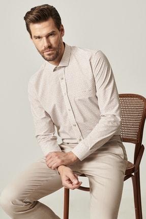 ALTINYILDIZ CLASSICS Erkek Bej Tailored Slim Fit Dar Kesim Küçük İtalyan Yaka Baskılı Gömlek