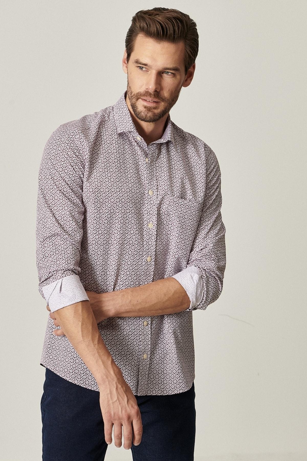 ALTINYILDIZ CLASSICS Erkek Bordo Tailored Slim Fit Dar Kesim Küçük Italyan Yaka Baskılı Gömlek 1
