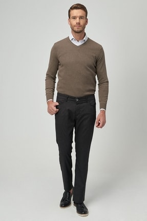 ALTINYILDIZ CLASSICS Erkek Antrasit Slim Fit Desenli Pantolon