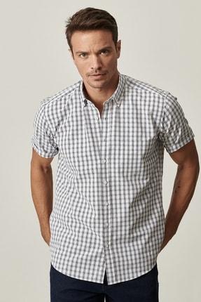 ALTINYILDIZ CLASSICS Erkek Beyaz-Lacivert Regular Fit Kısa Kollu Gömlek