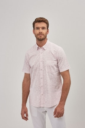ALTINYILDIZ CLASSICS Erkek Pembe Tailored Slim Fit Kısa Kollu Gömlek