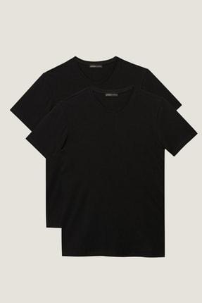 ALTINYILDIZ CLASSICS Erkek Siyah Slim Fit Dar Kesim V Yaka 2'li Tişört Paketi