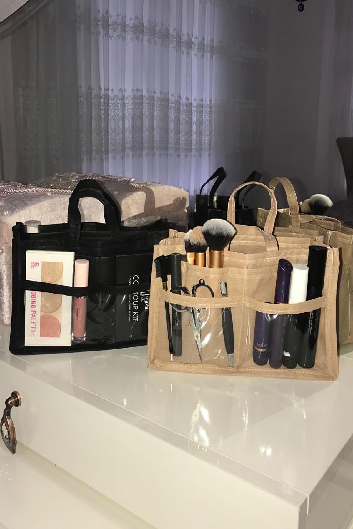 MİA Home Production Makyaj Ve Çok Amaçlı Siyah Çanta Içi Düzenleyeyici  Organizer 2