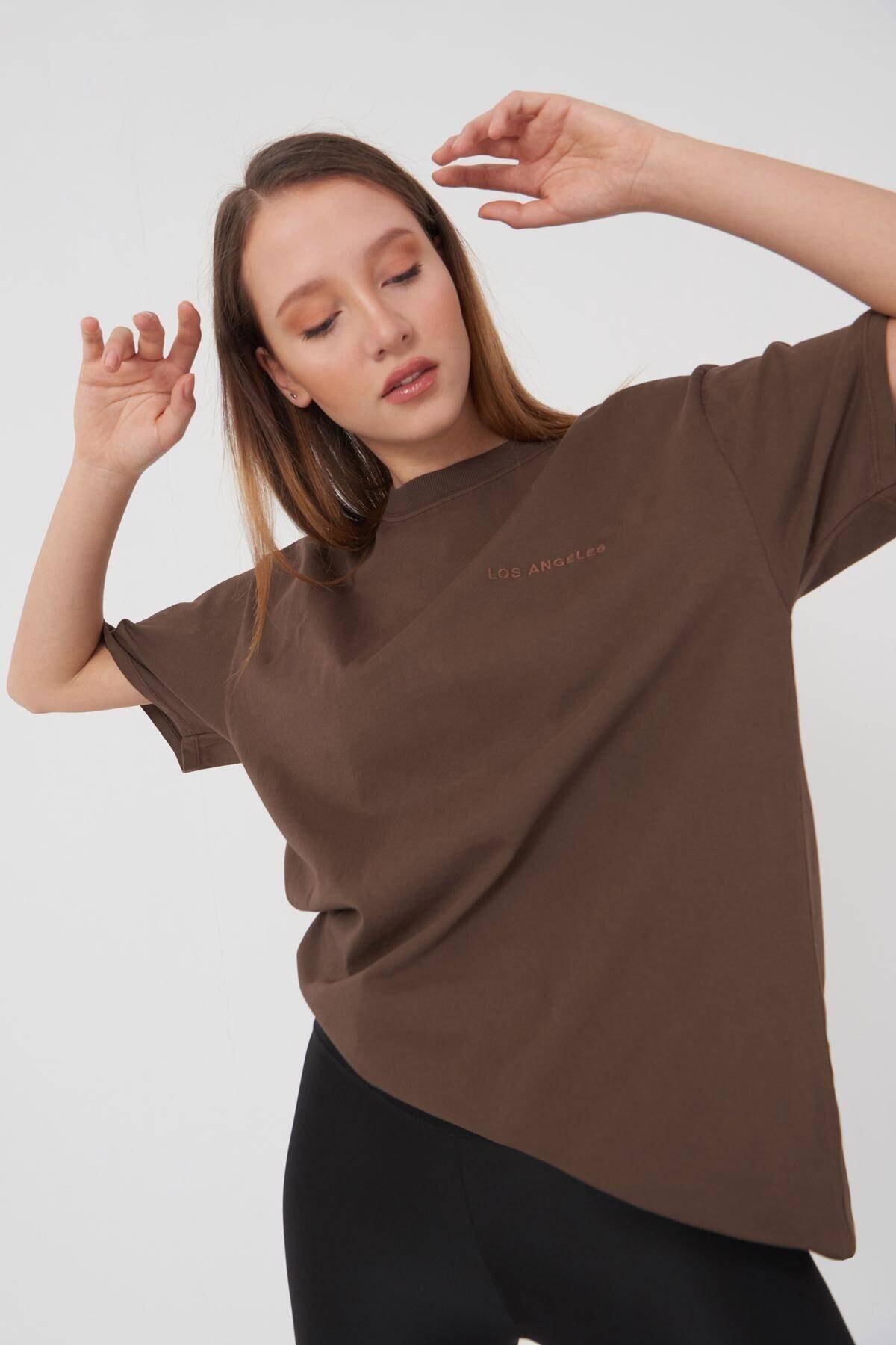 Addax Yazı Detaylı T-shirt P9519 - J5 2