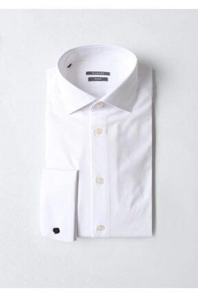 Ramsey Erkek Beyaz Micro Dokuma Uzun Kollu Gömlek