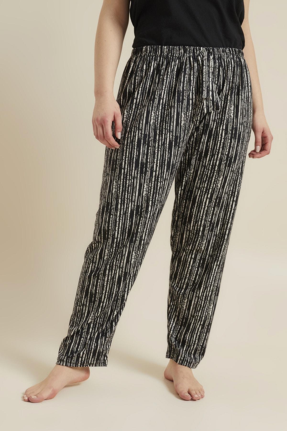 For Big Trend Kadın Siyah Desenli Büyük Beden Pijama Altı 1
