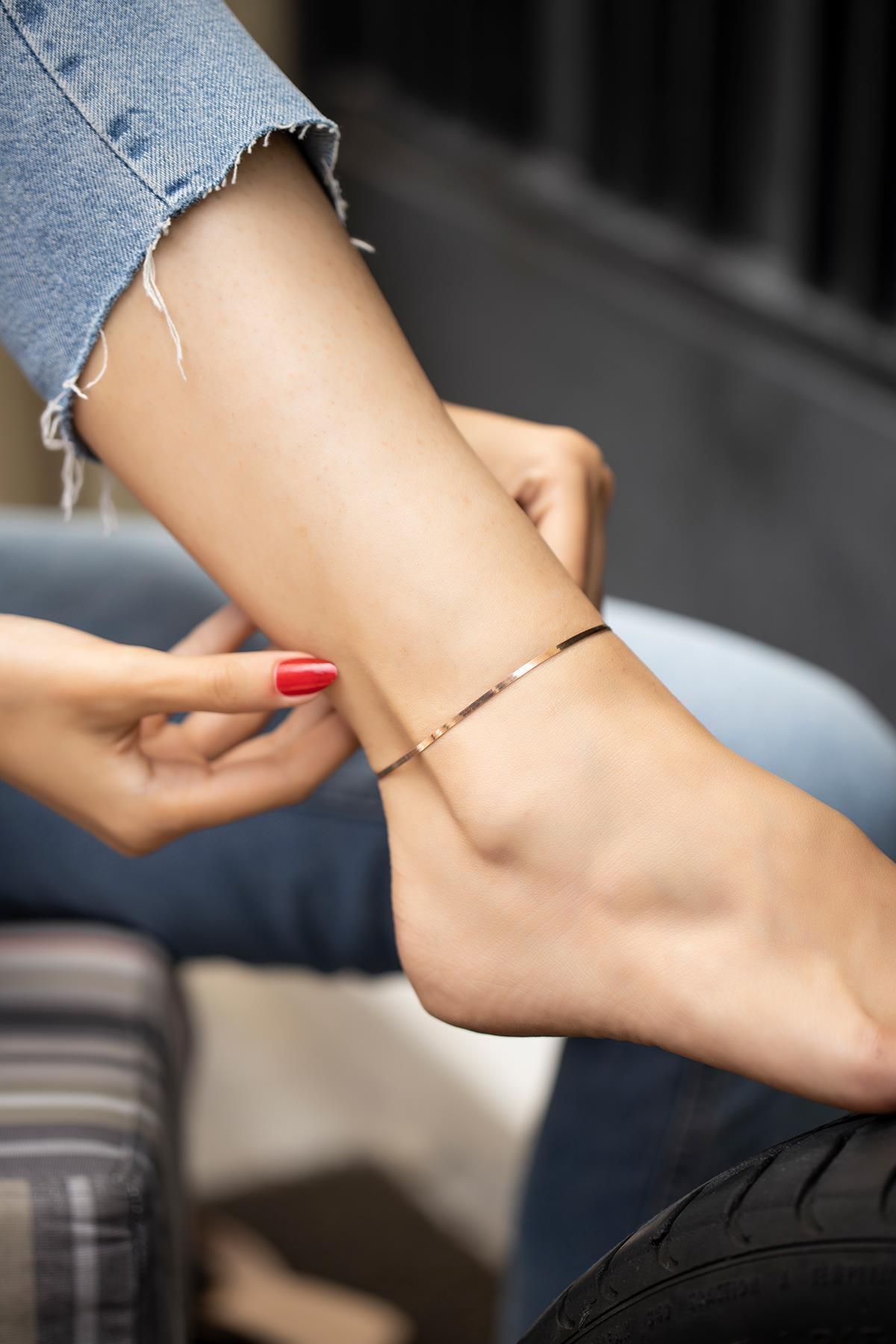 İzla Design Yassı Zincir Model Rose Kaplama Gümüş Italyan Halhal 2