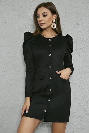 Sateen Kadın Siyah Kabarık Omuz Düğmeli Süet Elbise 20KEL139K234