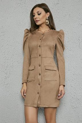 Sateen Kadın Vizon Kabarık Omuz Düğmeli Süet Elbise 20KEL139K234