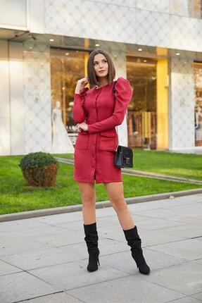 Sateen Kadın Bordo Kabarık Omuz Düğmeli Süet Elbise 20KEL139K234