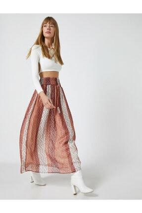 Koton Kadın Sifon Sal Desenli Uzun Etek