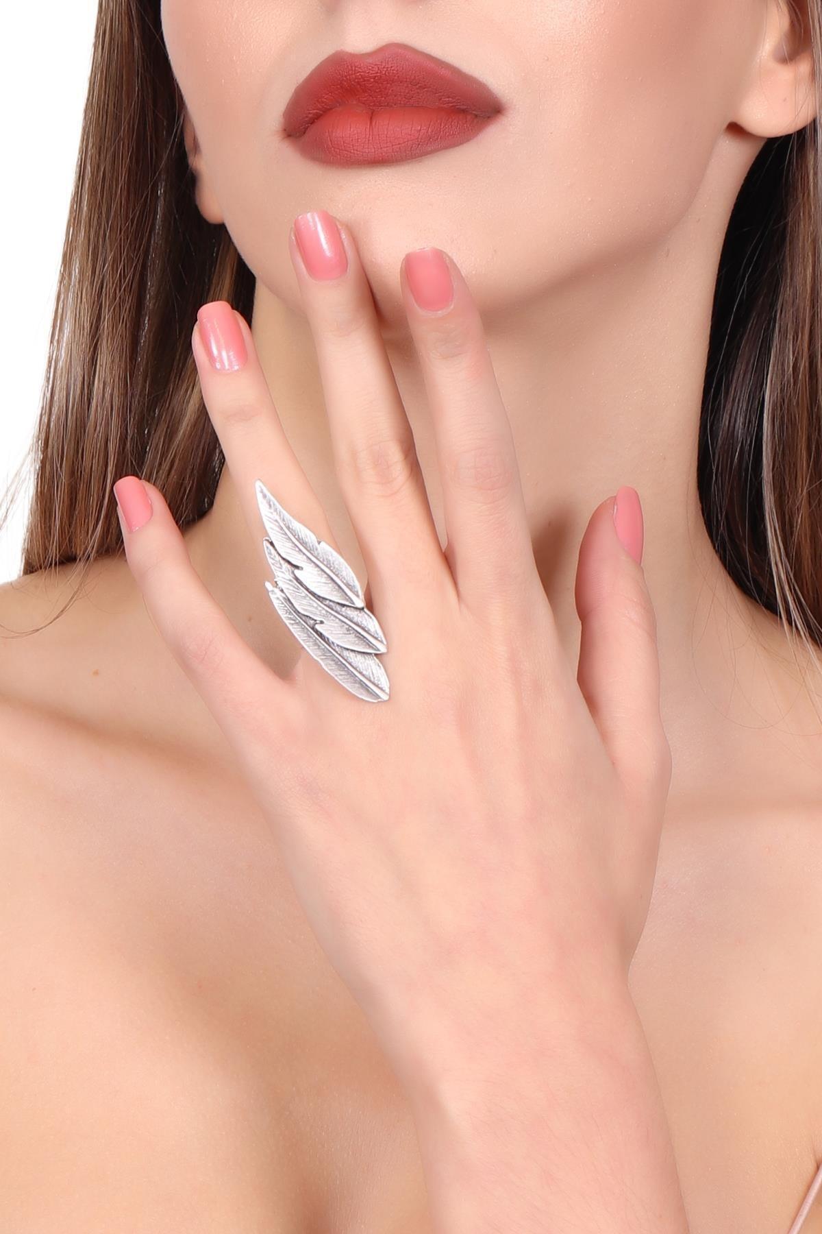 LABALABA Kadın Antik Gümüş Kaplama Ayarlanabilir Yaprak Stilizesi Yüzük 1