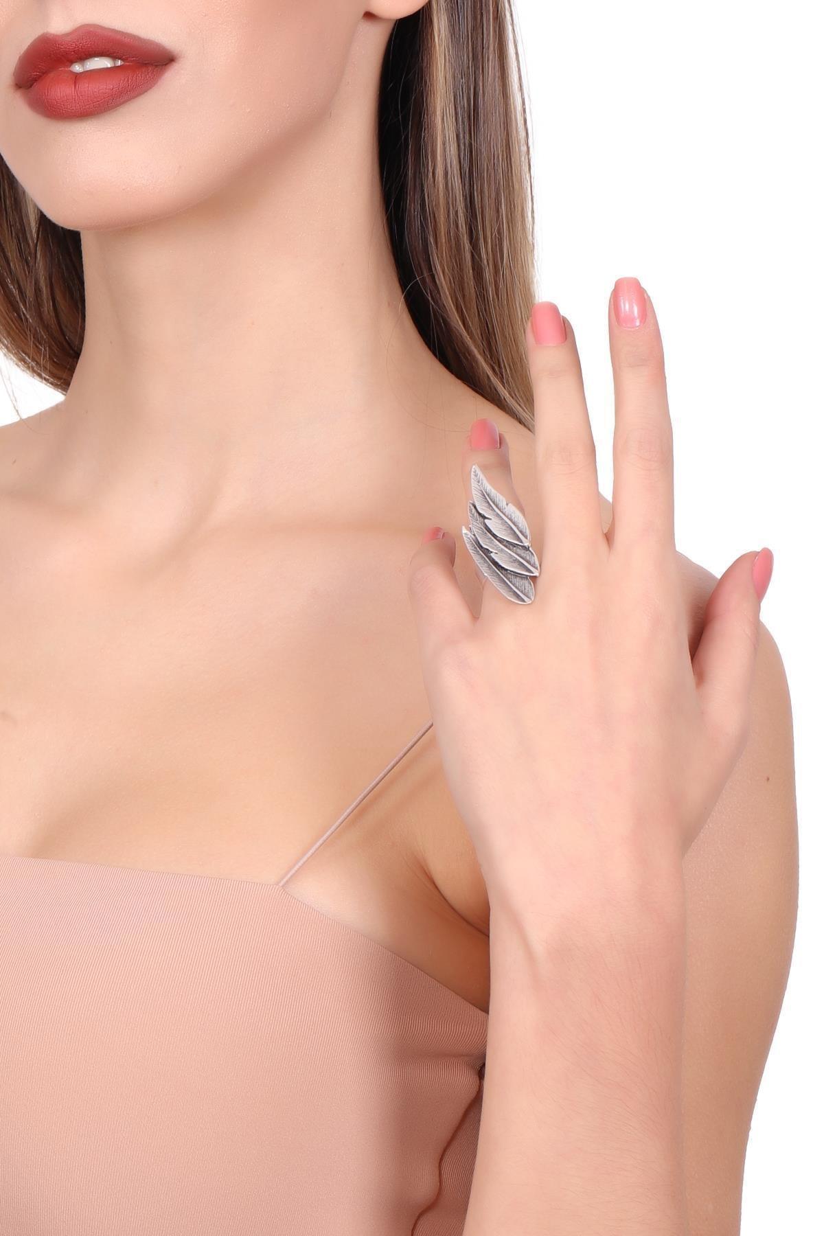 LABALABA Kadın Antik Gümüş Kaplama Ayarlanabilir Yaprak Stilizesi Yüzük 2