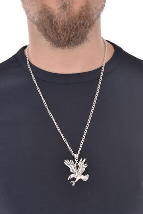 LABALABA Erkek Antik Gümüş Kaplama Kartal Simge Uçlu Kolye