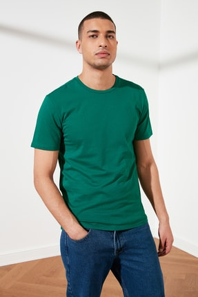 TRENDYOL MAN Yeşil Erkek Basic Pamuklu Kısa Kollu Slim Fit T-Shirt TMNSS19BO0001
